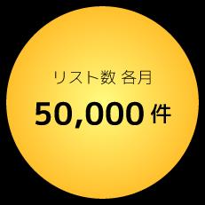リスト数各月50,000件